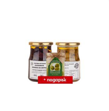 ПРОМО Грилована зелена маслина и Каламата печена на фурна (2х520 г) + Manzanilla с аншоа 120 г